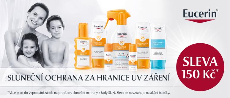Mimořádná sleva 150 Kč na všechny produkty ze sluneční řady Eucerin Sun!