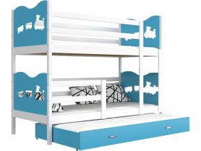 poschodova postel s pristelkou MAX 3 biela modra