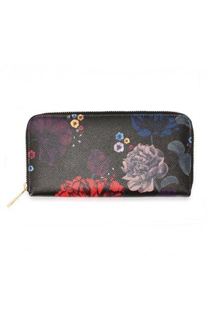 Čierna peňaženka pre ženy Floral Print AGP1108