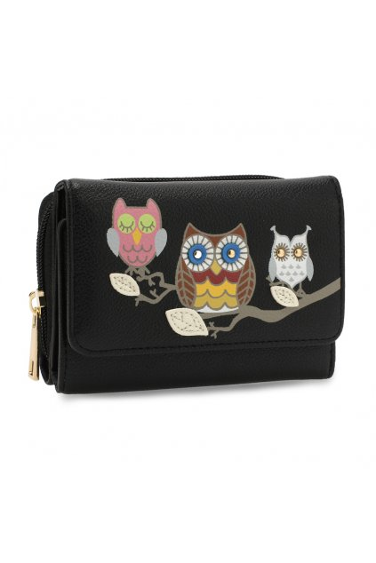 Čierna peňaženka pre ženy AG Sovy AGP1101